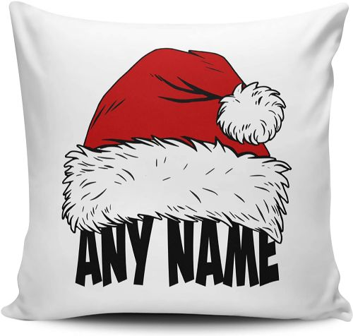 Personalised Any Name's Santa Hat Festive Novelty Cushion Cover